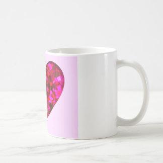 ルビー色のハート コーヒーマグカップ
