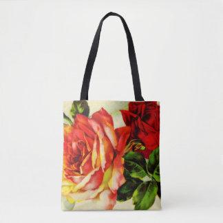 ルビー色のバラの全にプリントのトートバック トートバッグ