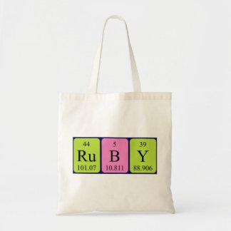 ルビー色の周期表の名前のトートバック トートバッグ
