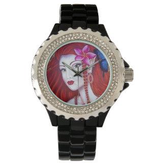 ルビー色の妖精のラインストーンの腕時計 ウォッチ