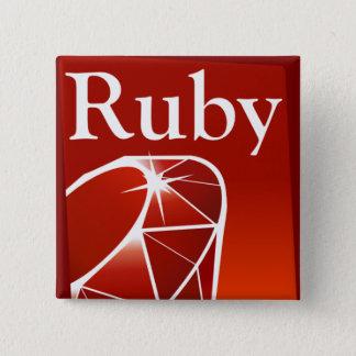 ルビー色の正方形ボタン 缶バッジ