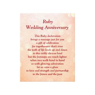 ルビー色の結婚記念日のキャンバス キャンバスプリント