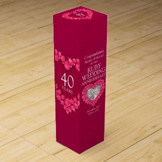 ルビー色の結婚記念日のハートの写真のワイン箱 ワイン ギフト包装