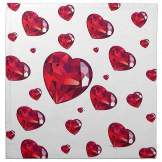 ルビー色の赤いバレンタインのハートのデザインを雨が降ること ナプキンクロス