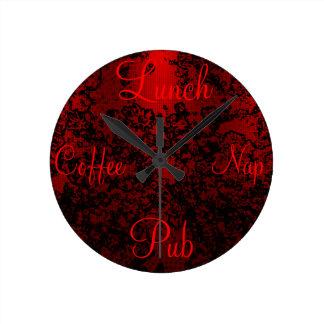 ルビー色の赤く黒くスタイリッシュな花の鮮やかなエレガント ラウンド壁時計