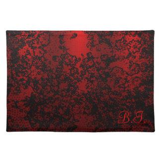 ルビー色の赤く黒くスタイリッシュな花の鮮やかなエレガント ランチョンマット