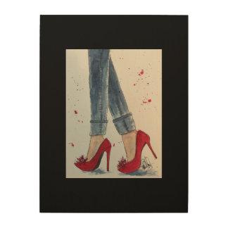 ルビー色の赤及びデニムの水彩画ポスター、木 ウッドウォールアート