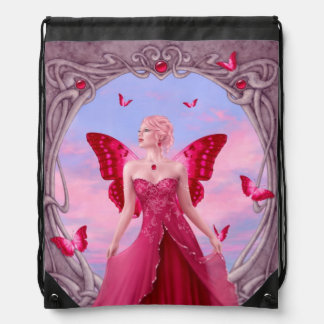 ルビー色のBirthstoneの妖精のドローストリングのバックパック ナップサック