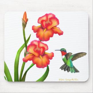 ルビー色のThroatedハチドリおよびアイリスマウスパッド マウスパッド