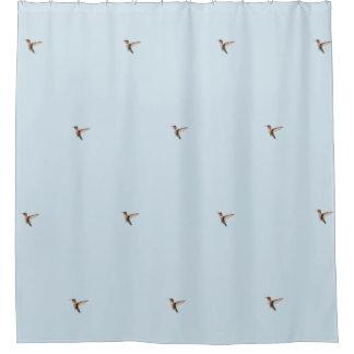 ルビー色のThroatedハチドリ シャワーカーテン