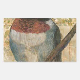 ルビー色のThroatedハチドリ 長方形シール