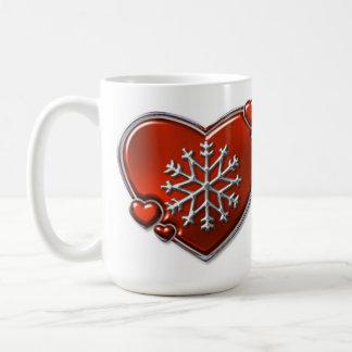 ルビー色のWinterheartの白のマグ コーヒーマグカップ