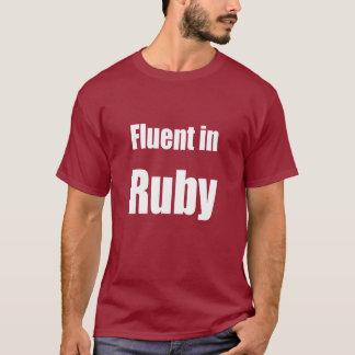 ルビー-えんじ色プログラマーワイシャツで流暢 Tシャツ