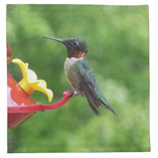 ルビーThroatedハチドリの鳥の写真撮影 ナプキンクロス