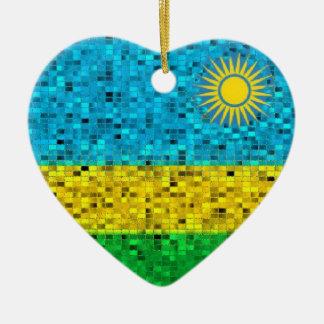 ルワンダの旗のグリッターのオーナメント セラミックオーナメント