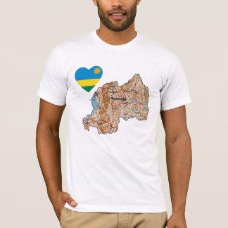 ルワンダの旗のハートおよび地図のTシャツ Tシャツ