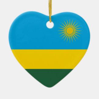 ルワンダの旗のハートのオーナメント セラミックオーナメント