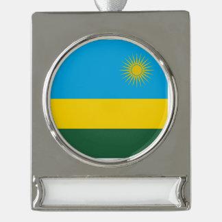 ルワンダの旗 シルバープレートバナーオーナメント