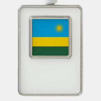 ルワンダの旗 シルバープレートフレームオーナメント