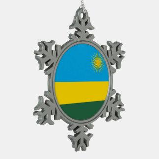 ルワンダの旗 スノーフレークピューターオーナメント