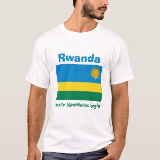 ルワンダの旗 + 地図 + 文字のTシャツ Tシャツ