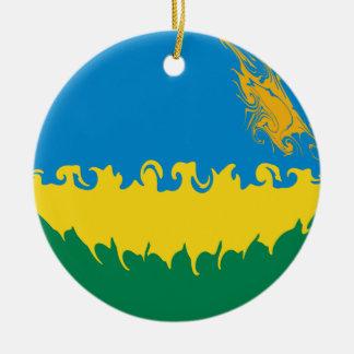 ルワンダ|すごい|旗 クリスマスツリーオーナメント