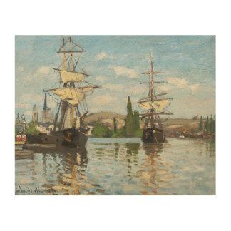 ルーアンでセーヌ河で乗るクロード・モネ の船 ウッドウォールアート