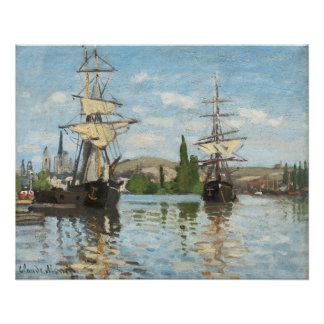 ルーアンでセーヌ河で乗るクロード・モネ|の船 ポスター