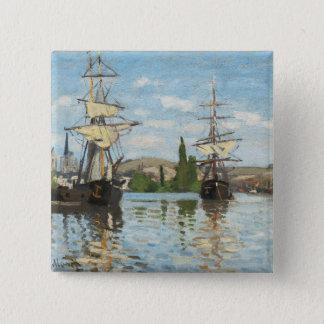 ルーアンでセーヌ河で乗るクロード・モネ の船 缶バッジ