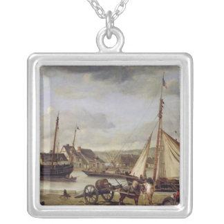 ルーアン1834年の商人のクウェイ シルバープレートネックレス
