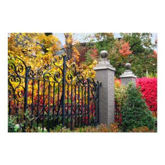ルーイスビルの葉そして木が付いているカラフルなゲート フォトプリント