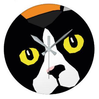 ルーカス猫の抽象芸術のポップアートの柱時計 ラージ壁時計