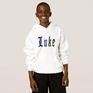 ルークの名前、ロゴ、男の子の白いフリースのフード付きスウェットシャツ。