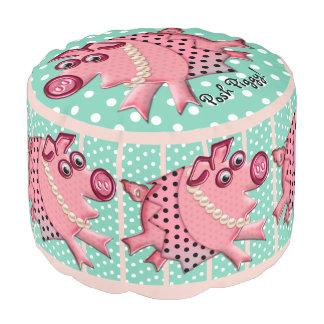 ルーサイトの緑のピンクの優雅な豚のよう(名前入りな) プーフ