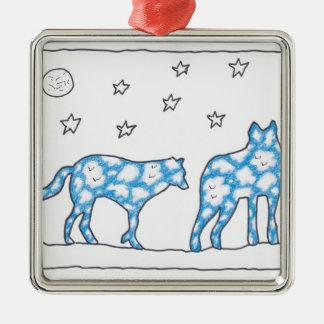 ルースI. Rubin著空のオオカミ2の景色 メタルオーナメント