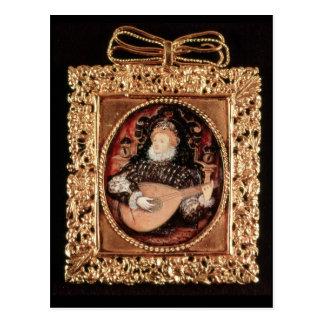 ルートを演奏しているエリザベス女王一世 ポストカード
