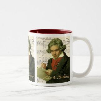 ルートヴィヒ・ヴァン・ベートーヴェンの~のベートーベンのコラージュ ツートーンマグカップ