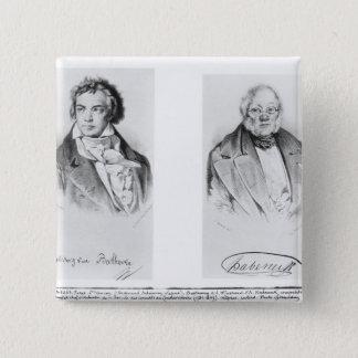 ルートヴィヒ・ヴァン・ベートーヴェン及びFrancoisアントワーヌHabeneck 5.1cm 正方形バッジ