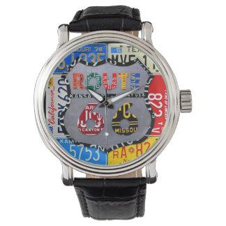 ルート66のナンバープレートの芸術の黒の腕時計 腕時計