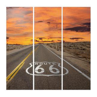 ルート66の壁の芸術のアリゾナの日没 トリプティカ