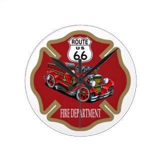 ルート66の消防署の時計 ラウンド壁時計
