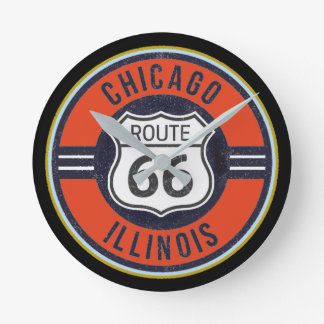 ルート66シカゴ-時計 ラウンド壁時計