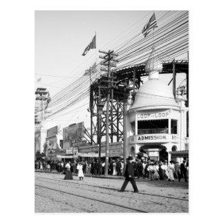 ループ乗車、波の道、コニーアイランド1903年を輪にして下さい ポストカード