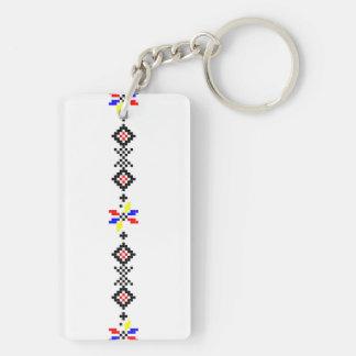 ルーマニアの人気があるなモチーフの民俗記号の国田園r 長方形(両面)アクリル製キーホルダー