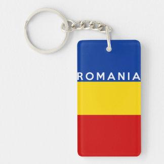 ルーマニアの国旗の記号の名前の文字 長方形(片面)アクリル製キーホルダー