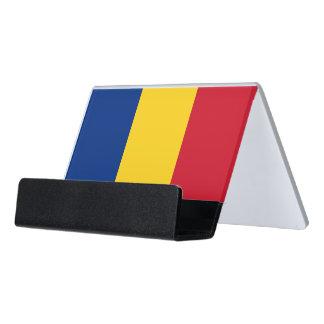 ルーマニアの旗が付いている帯出登録者 デスク名刺ホルダー