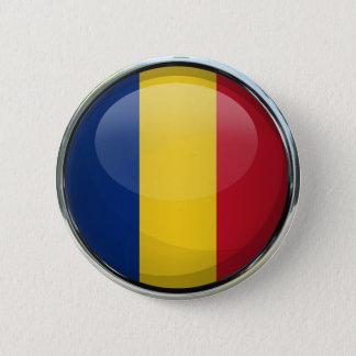 ルーマニアの旗のガラス玉 缶バッジ