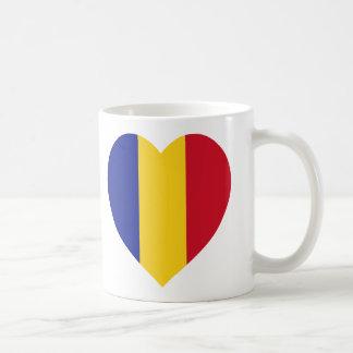 ルーマニアの旗のハート コーヒーマグカップ