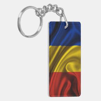ルーマニアの旗の生地 長方形(両面)アクリル製キーホルダー