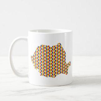 ルーマニアの旗ハートの地図のカスタマイズ可能なマグ コーヒーマグカップ